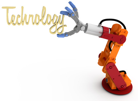 Robotic arm holding word Technology as blog article subject title above copy-space photo