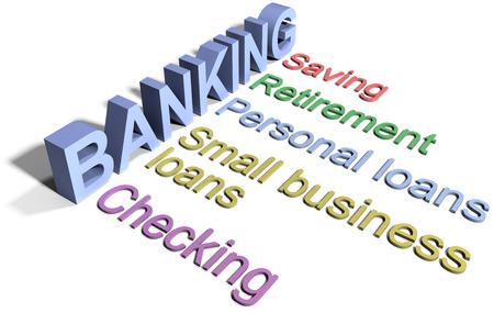 Bankgeschäft Finanzdienstleistungen Liste überprüfen Spardarlehen Standard-Bild - 30181751