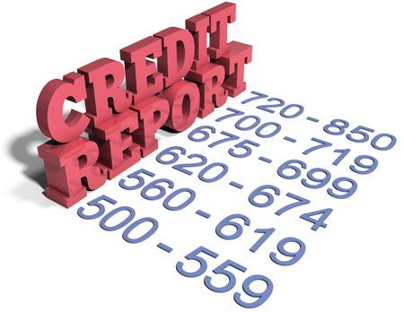 Rapport van het Krediet score financiën schuld nummers van uitstekend tot slecht Stockfoto