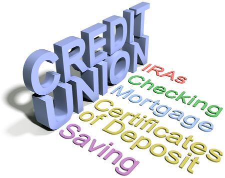 Credit union financial services list checking saving IRA CDs Standard-Bild