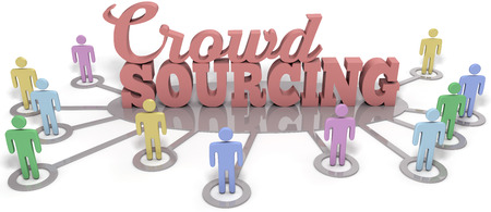 Crowdsource people contribute user generated content to business startup