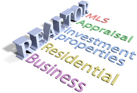 business services: List of realtor provided real estate business selling buying business services Stock Photo