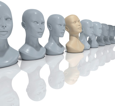 visionary: Unique visionary person standing out from average people to find dream Stock Photo