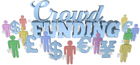 Crowdfunding social people invest in international business startup project  Reklamní fotografie