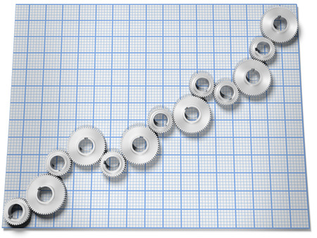 Business Company Growth Chart As Row Of Gears On Graph Paper Stock