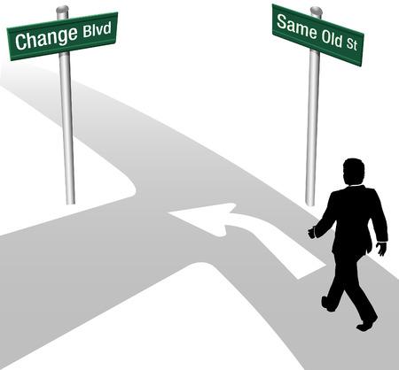 Decisión Persona de negocios para ir misma manera o el cambio de edad elija nuevo camino y la dirección