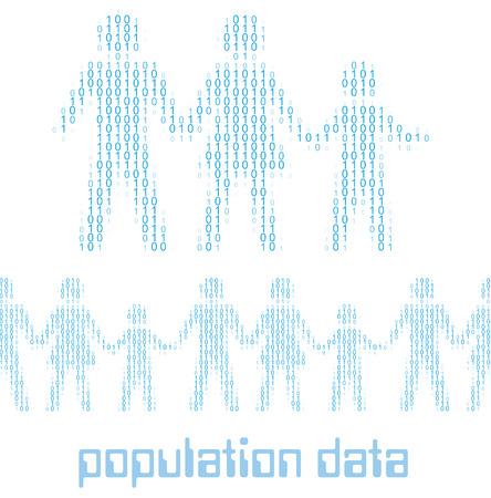 디지털 1 0 데이터 인구 통계로 가족 사람들은 가로로 타일을 일러스트