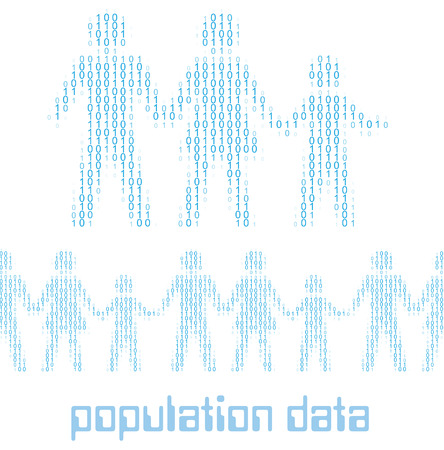 Family people as digital 1 0 data population statistics to tile horizontally Vector