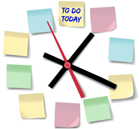 time of the day: Post daily to do list schedule on memo notes on time clock