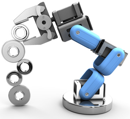 Robotic arm building growth in technology business as gear stack Archivio Fotografico