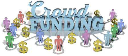 crowd sourcing: Crowdfunding social people invest in international business startup project  Stock Photo