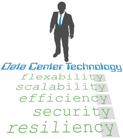 flexible business: Business person plans update of company Data Center Technology Strategy