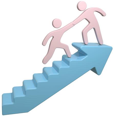 Las personas se unen para ayudar a resolver un problema paso por las escaleras de flecha Foto de archivo - 30865183