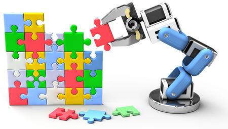 Braccio robotico trova soluzione tecnologia problema aziendale Archivio Fotografico - 30858292