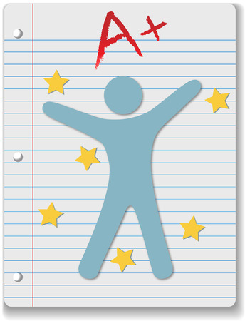 ruled: Back to School stars on ruled notebook paper supply A+ grade for student