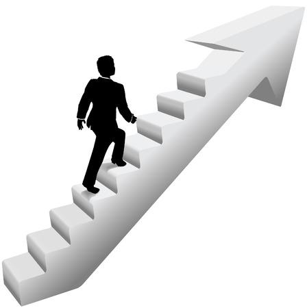 subiendo escaleras: Persona de negocios que sube la escalera flecha para el éxito Vectores