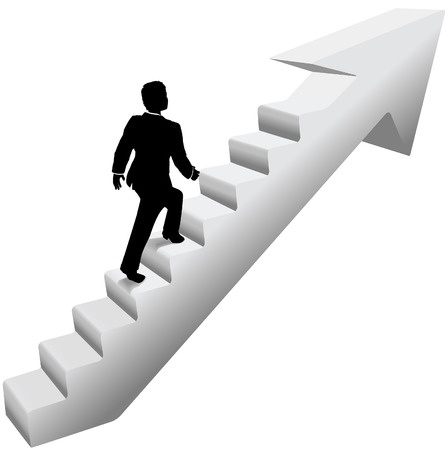 Business person climbing stairway arrow to success