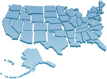 kontinentální: Mapa Amerika USA s padesáti jednotlivých států odděleny Ilustrace
