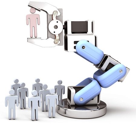 Robot hand chooses one Person in group of people HR decision photo