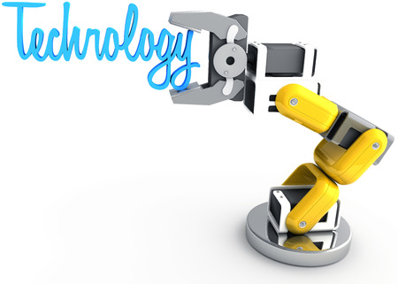 Robot arm holding word Technology as article text subject title above copy-space