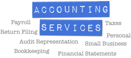 small business: Small business accountant tax preparation bookkeeping services on plastic labels