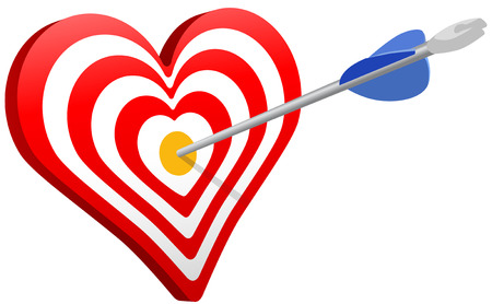 Arrow hits heart target bulls eye as love Valentine or targeted marketing symbol Ilustrace