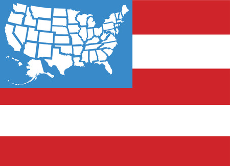 USA flag with fifty United States state maps separate as stars Ilustrace