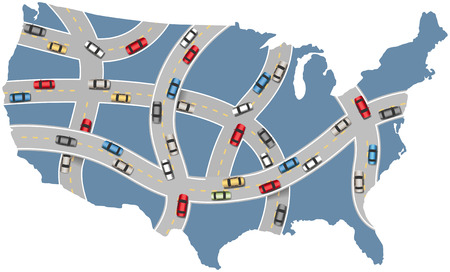 curve road: Many cars drive USA roads on travel transportation map of America