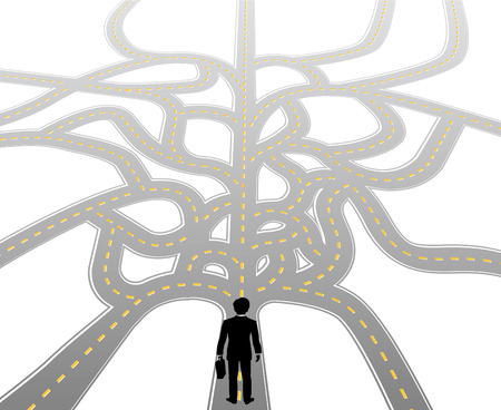 choose a path: Business person standing at complicated choices and confusing decision path