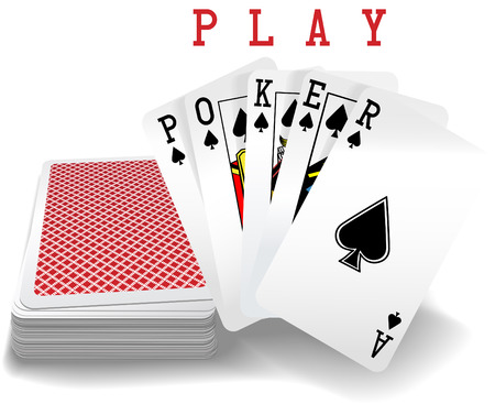 Royal straight flush playing cards deck and spades hand word Poker 일러스트