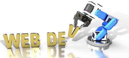 Robotic arm automatically builds website as web development technology