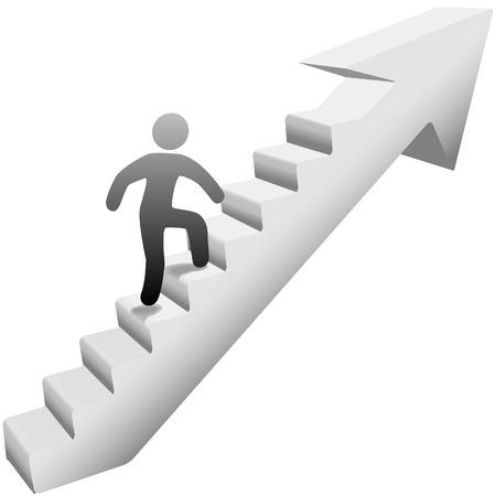 사람은 성공에 자기 개선 계단 화살표를 등반