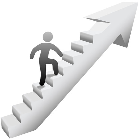 Person climbing up self improvement stairway arrow to success