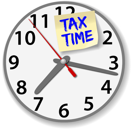 Time clock post note reminder of taxes due time date Ilustração