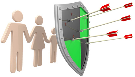 insurance policy: Safe security insurance policy shield protection for family risk Stock Photo