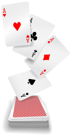 red cards: Four aces poker hand fly up from red back playing cards deck