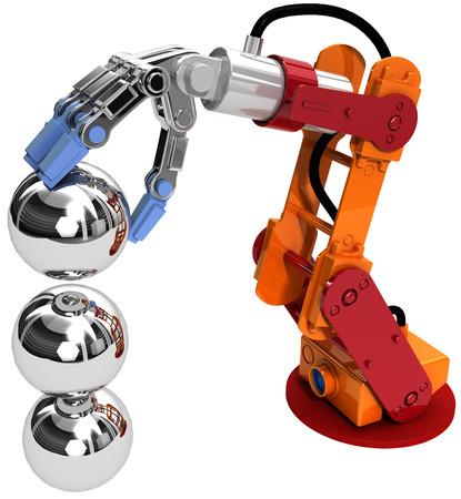 mano robotica: Crecimiento edificio brazo robótico en los negocios de tecnología como la pila de rodamientos de bolas