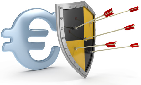 Security shield protects money European Euro currency financial security