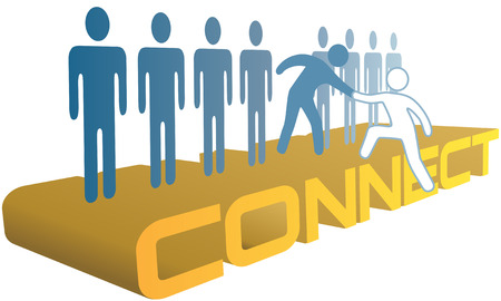 group  join: Member gives helping hand up to a new person to join a company or social group Illustration