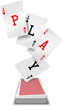 deck of cards: Play word aces poker hand fly up from red back playing cards deck