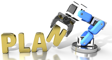 robot arm: Robot arm holding letter in PLAN word for automation technology Stock Photo