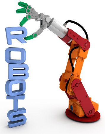 Robot arm holding robots word as illustration for robotic concept issues