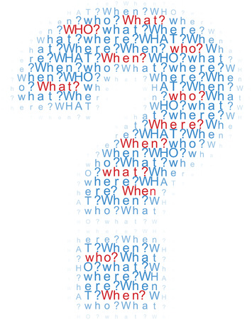 when: Question mark symbol of information questions who what where when