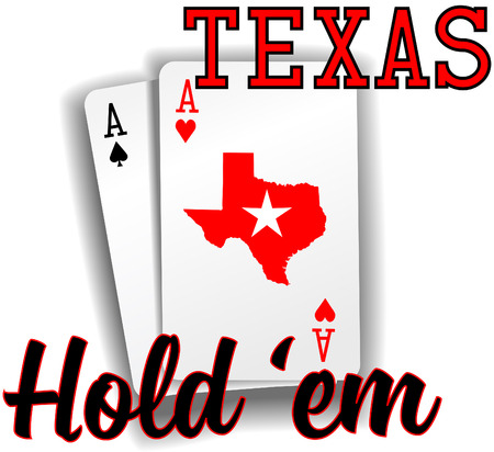 em: Pair of aces as Texas Hold em winning poker hand cards