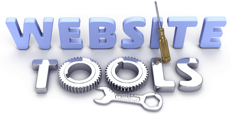 website words: Shiny effective powerful new tool set for business Internet website development Stock Photo