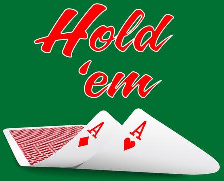 Paar azen onder als Texas Hold em winnende pokerhand kaarten Vector Illustratie