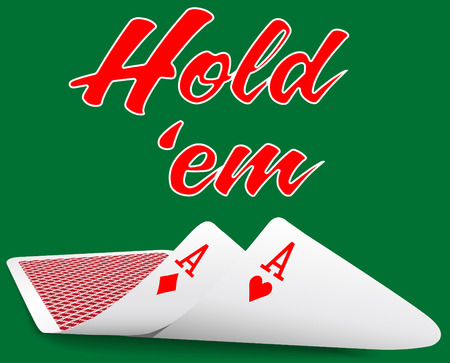 Pair of aces under as Texas Hold em winning poker hand cards
