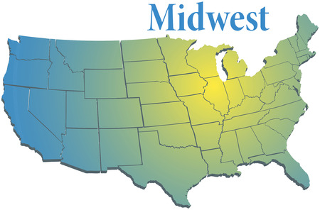 Sunny spotlight shines on midwest map of states in US Midwestern region Illustration