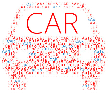Car auto words form shape of automobile outline icon