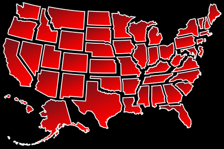 Map of America USA fifty states separated white border isolated on black